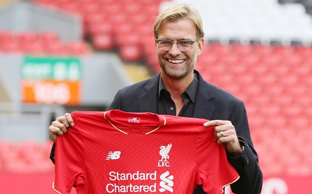 Editorial use only. No merchandising. For Football images FA and Premier League restrictions apply inc. no internet/mobile usage without FAPL license - for details contact Football Dataco Mandatory Credit: Photo by Paul Currie/BPI/REX Shutterstock (5225923am) New Liverpool manager Jurgen Klopp is unveiled to the media at a press conference held at Anfield, Liverpool Barclays Premier League 2015/16 Liverpool Press Conference - Jurgen Klopp Anfield, Anfield Rd, Liverpool, United Kingdom - 9 Oct 2015