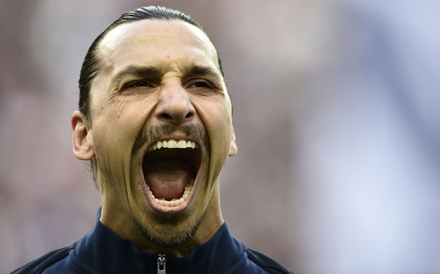ALTERNATIVE CROP Paris Saint-Germain's Swedish forward Zlatan Ibrahimovic reacts before the French Cup final football match between Paris Saint-Germain and Auxerre on May 30, 2015 at the Stade de France in Saint-Denis, north of Paris. AFP PHOTO / FRANCK FIFEFRANCK FIFE/AFP/Getty Images